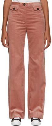 ALEXACHUNG Pink Corduroy Wide-Leg Trousers