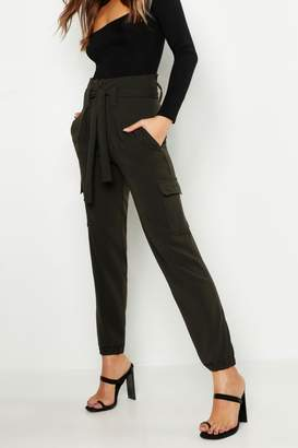 boohoo Tie Waist Cargo Pocket Pants