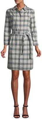 Burberry Lace Trim Collar Plaid Cotton Shirtdress