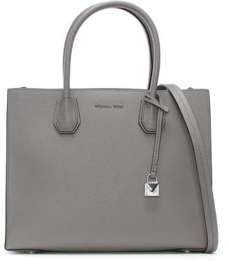 Michael Kors Mercer Pearl Grey Leather Large Satchel Tote Bag