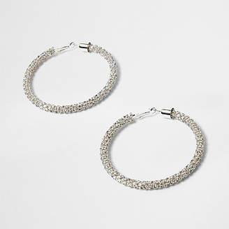 River Island Silver tone rhinestone rope hoop earrings