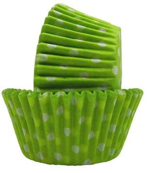 Majestic Chef Grease proof Baking Cups Lime Green Polka Dot Standard
