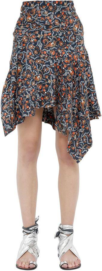 Isabel MarantAsymmetric Floral Print Silk Midi Skirt