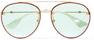 Gucci Aviator-style Glittered Gold-tone Sunglasses