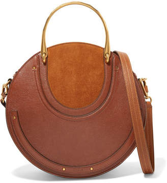 Chloé Pixie Large Suede And Textured-leather Shoulder Bag - Dark brown
