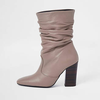 River Island Light pink leather slouch boots