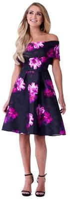 Lipstick Boutique Sistaglam - Multicolour 'Cleo' Floral Off The Shoulder Skater Styled Skirt