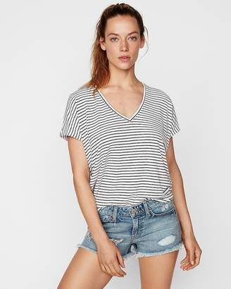 Express One Eleven Striped V-Neck London Tee