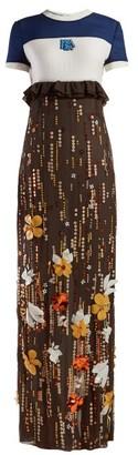 Prada Sequinned Silk Chiffon Gown - Womens - Brown Multi
