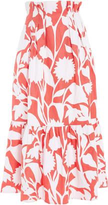 Mara Hoffman Roshini High-Waisted Printed Cotton-Linen Midi Skirt