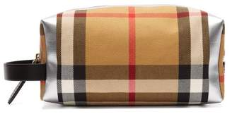 Burberry Metallic Checked Canvas Wash Bag - Womens - Brown Multi