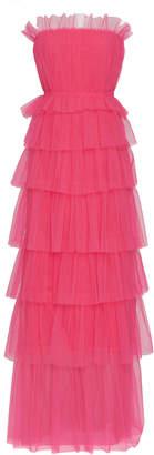 Carolina Herrera Strapless Ruffle Tiered Tulle Gown