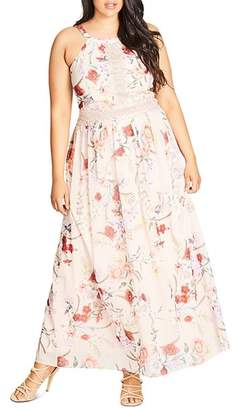 City Chic Plus Floral Halter Maxi Dress