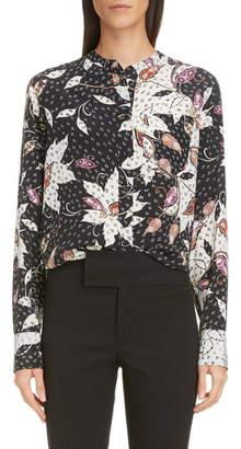Isabel Marant Floral Print Stretch Silk Blouse