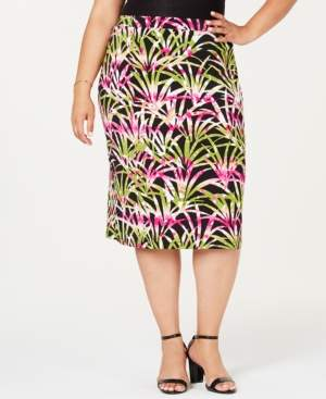 Kasper Plus Size Printed Pull-On Skirt