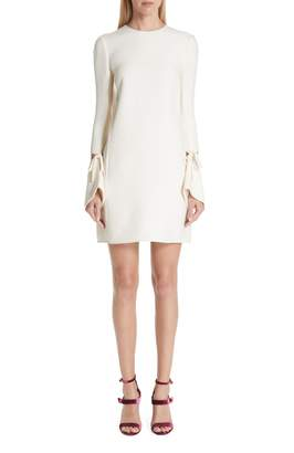 Oscar de la Renta Split Sleeve Wool & Silk Crepe Shift Dress