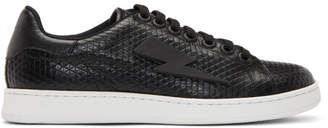 Neil Barrett Black Thunderbolt Tennis Sneakers