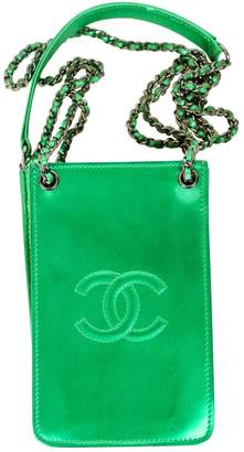 Chanel Green Patent leather Clutch Bag