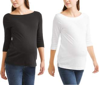 Faded Glory Maternity 3/4 Sleeve Boat Neck Tee, 2-Pack