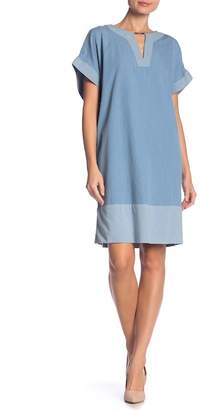 Jones New York Split V-Neck Elbow Sleeve Dress