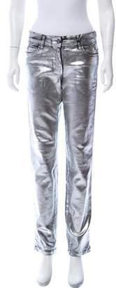Just Cavalli Metallic Mid-Rise Straight-Leg Jeans w/ Tags