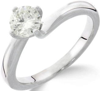 Love Diamond Love DIAMOND 9ctWhite Gold 1ct Diamond Solitaire Twisted Ring