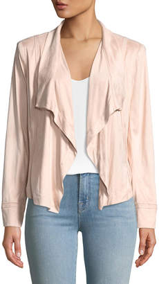 Donna Karan Draped-Front Faux-Suede Jacket