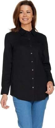 Denim & Co. Regular Linen Blend Long Sleeve Button Front Tunic