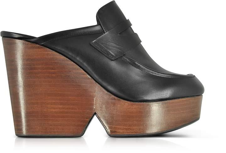 Robert Clergerie Damor Black Leather Wedge Mule