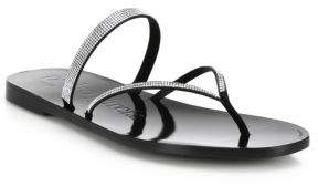 Pedro Garcia Isla Jeweled Satin Thong Sandals
