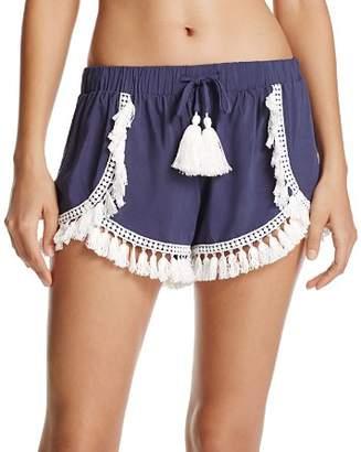 Surf Gypsy Tassel Trim Swim Cover-Up Shorts