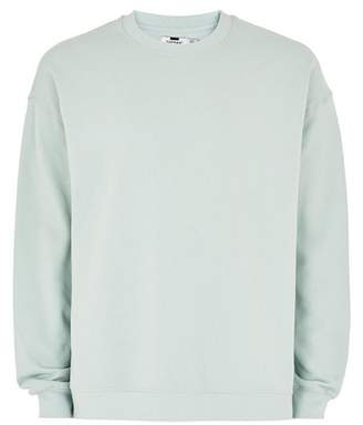 Topman Mens Washed Green Dropped Shoulder Sweatshirt