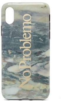 Aries No Problemo Marble Print Iphone X Phone Case - Womens - White Multi