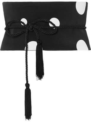 Racil - Tasseled Polka-dot Silk Crepe Chine Waist Belt - Black