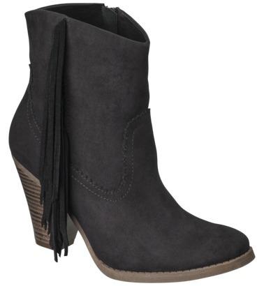 Mossimo Women's Karmi Fringe Western Ankle Boot - Black