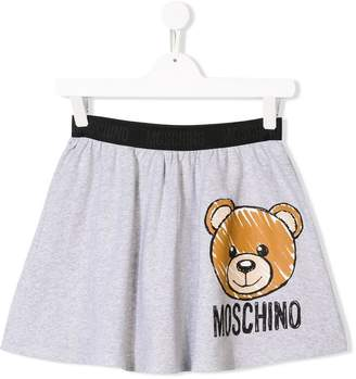 Moschino Kids TEEN logo bear print skirt