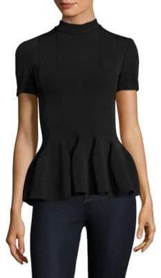Carven Short-Sleeve Peplum Top