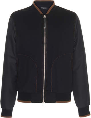 Reversible Leather-Trimmed Cashmere Bomber Jacket