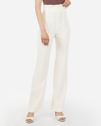 Express High Waisted Ruffle Top Wide Leg Pant