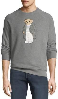 Ralph Lauren Men's Bear-Applique Crewneck Raglan Fleece Sweatshirt