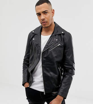 Asos DESIGN Tall leather biker jacket in black