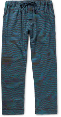 Desmond & Dempsey - Printed Cotton Pyjama Trousers - Men - Blue