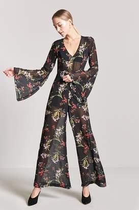 Forever 21 Sheer Floral Bell-Sleeve Jumpsuit