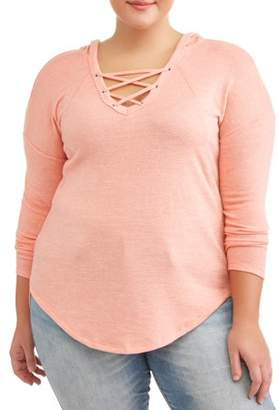 No Comment Junior Plus Size Brushed Lace Up Hoodie