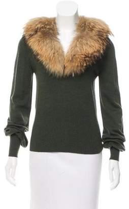 Cassin Fox-Trimmed Wool Sweater