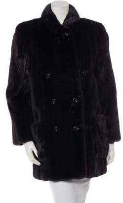 Bill Blass Double-Breasted Mink Fur Coat Brown Double-Breasted Mink Fur Coat