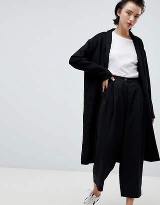 Weekday drapey knit coat in black