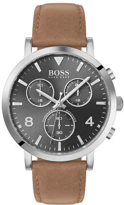 HUGO BOSS Men's Spirit Chronograph Watch with Beige Leather Strap