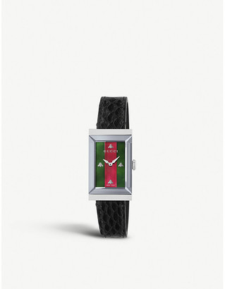 Gucci YA147403 G-frame stainless steel and leather strap watch