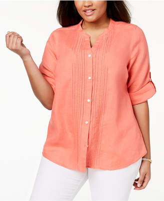 Charter Club Plus Size Linen Shirt, Created for Macy's